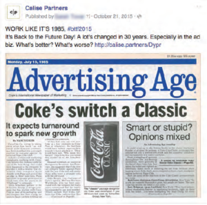 Coke's switch a classic Facebook post.