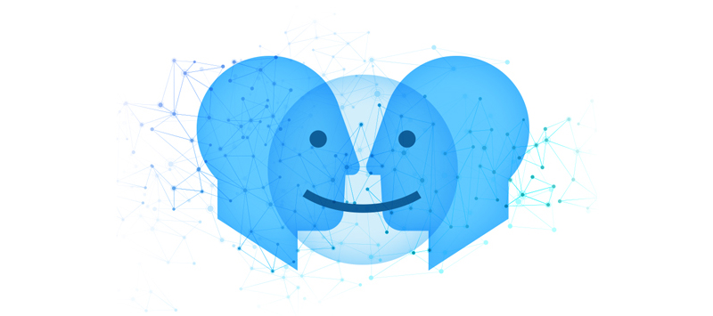 two faces that are sharing a smile due to a positive employee and customer experience