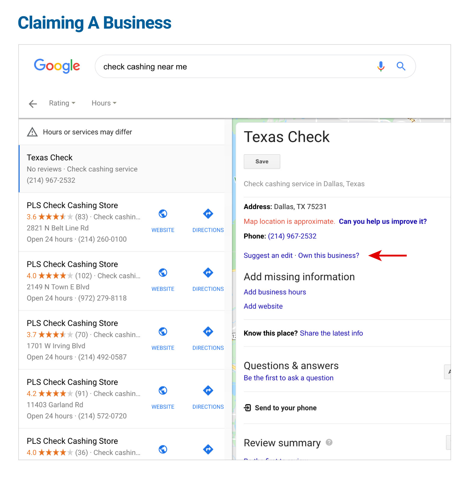 Claiming A Business